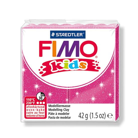 FIMO kids glitter pink ler 8030-262