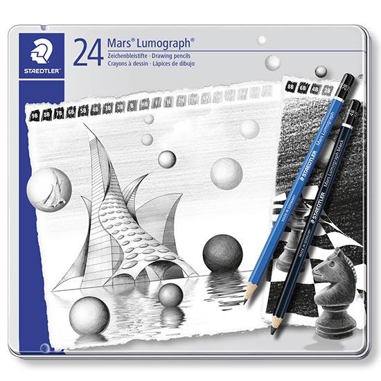 Staedtler Mars Lumograph 24 blyanter 100-G24-S