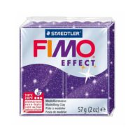 Fimo effect glitter lilla ler 8020-602