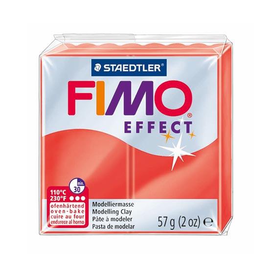 Fimo effect translucent rød ler