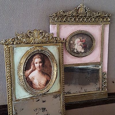 franske miniature trumeau-spejle
